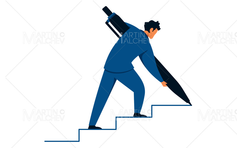 Businessman Creating Stairs Vector Illustration