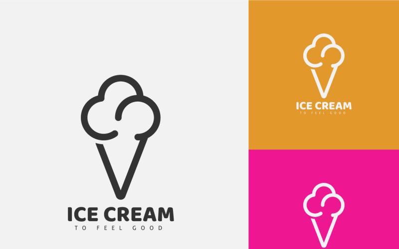 Cone Ice Cream Logo Line Art, minimal logo design