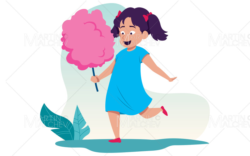 Cotton Candy Girl Vector Illustration