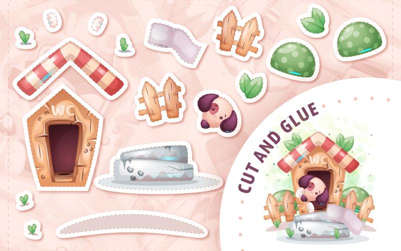 Hund i toalett - spel för barn, klipp och lim, grafisk illustration