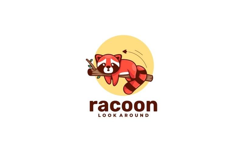 Tvättbjörn maskot tecknad logotyp