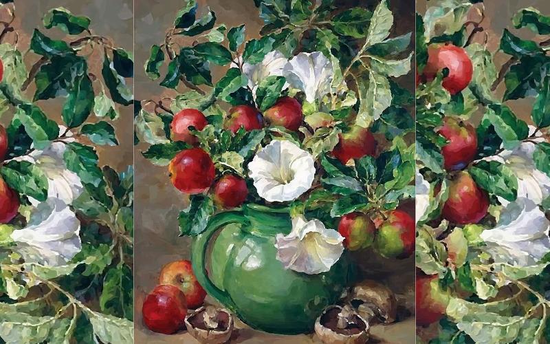 Akvarellblommavas med härlig landskap handritad illustration