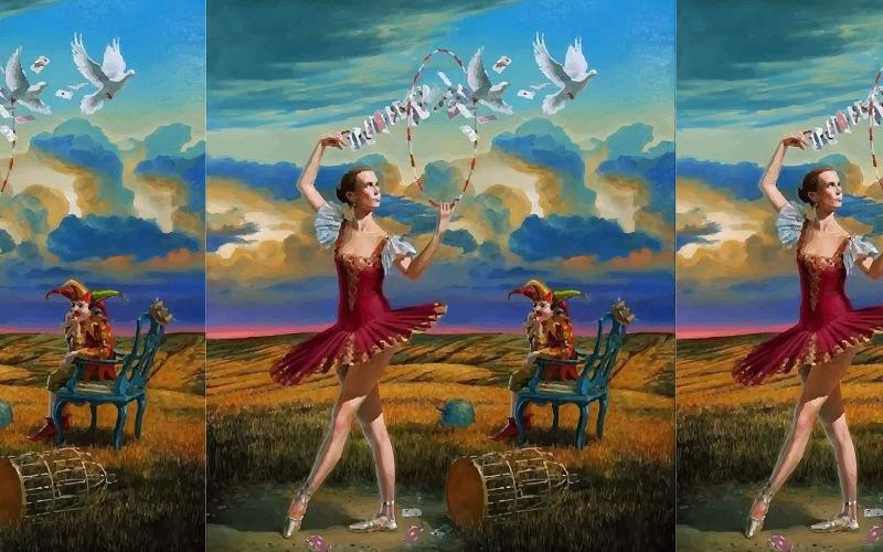 Akvarellflicka som dansar med härlig landskap Handritad illustration