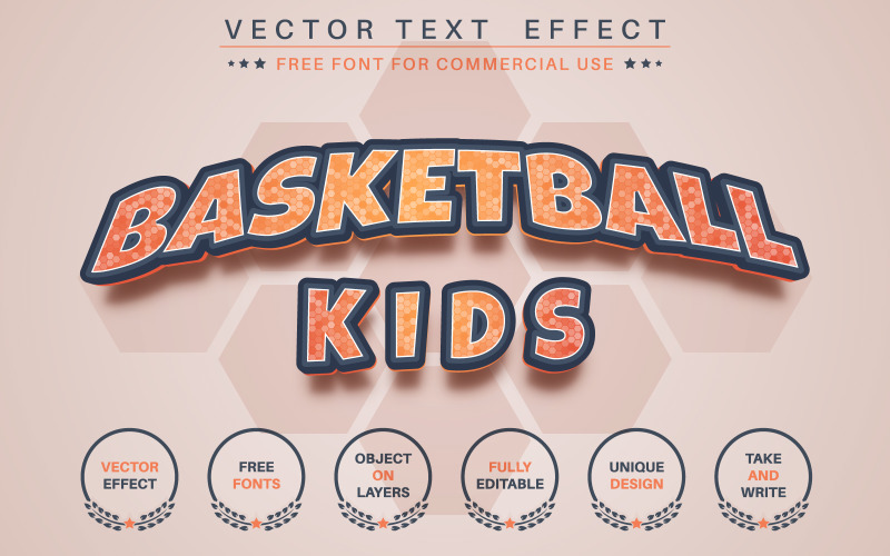 Basketball Kids - Editable Text Effect, Font Style, Gaphics Illustration
