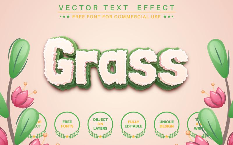 Gräs - redigerbar texteffekt, teckensnittsstil, grafikillustration