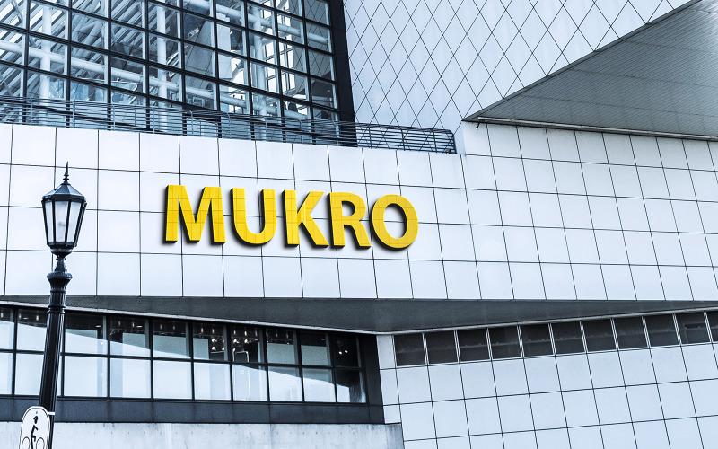 Gul logotyp Mockup 3D tecken vit byggnad vägg fasad
