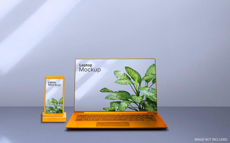 Guld Laptop & Telefon Mockup Design skärmpresentation