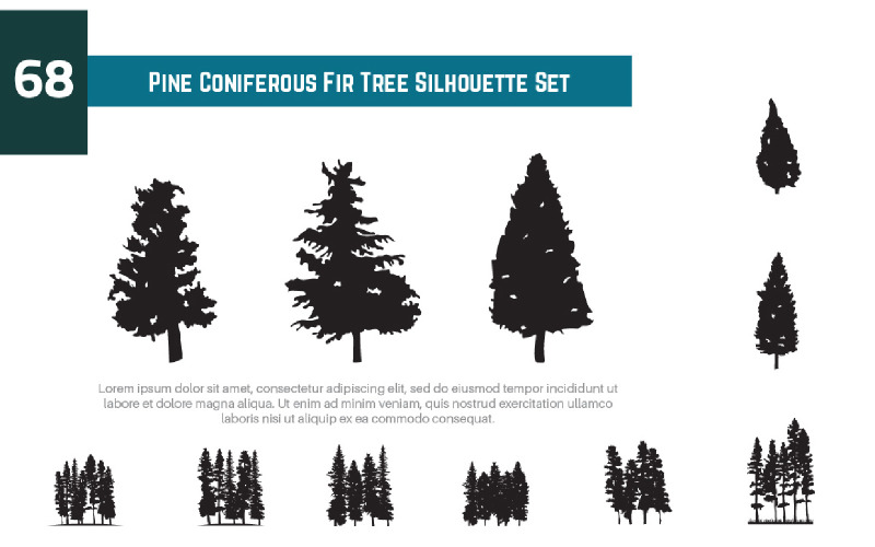 68 Illustration för set för siluett för barrträdgranträd