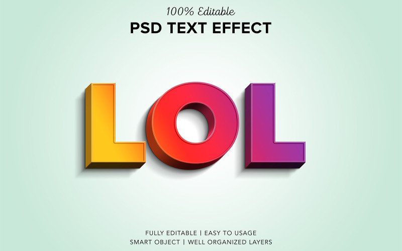 Lol Psd Text Effect Style 3D Mockup