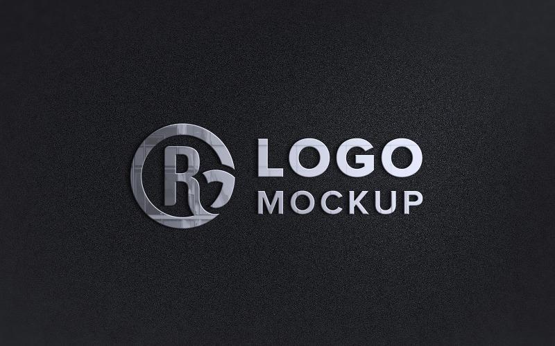 Metallisk logotyp Mockup tecken svart vägg presentation