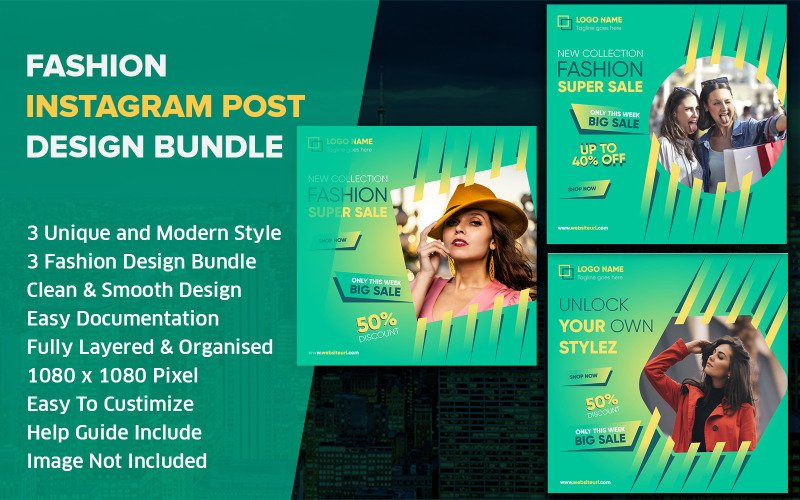 Mode Social Media Post Design Instagram Mall Bundle Pack