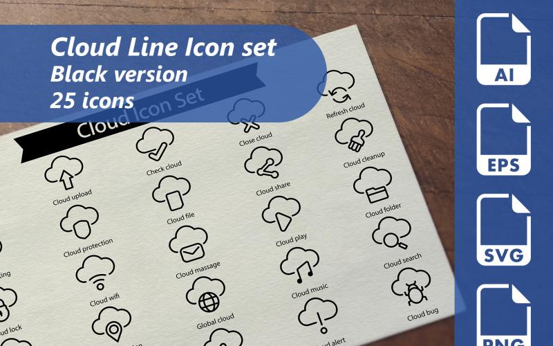 Cloud Line Icon Set Template