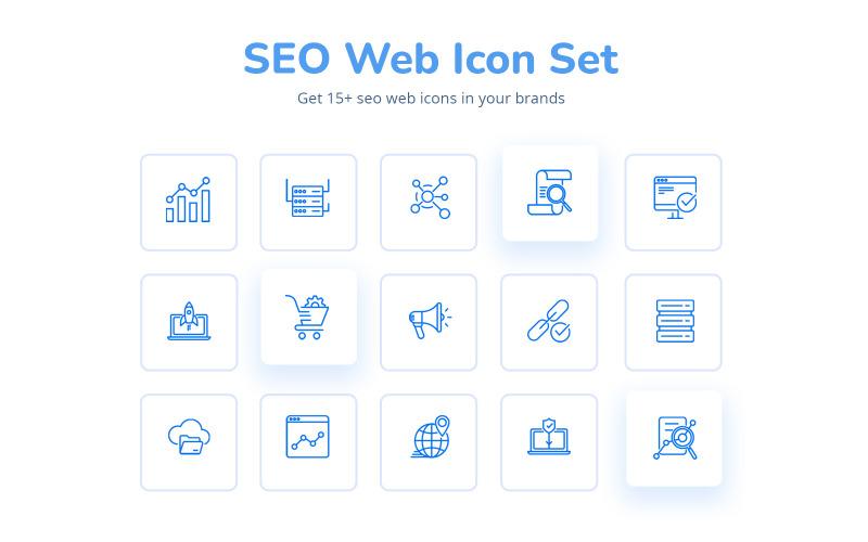 Kreativa och attraktiva Seo Web IconSet