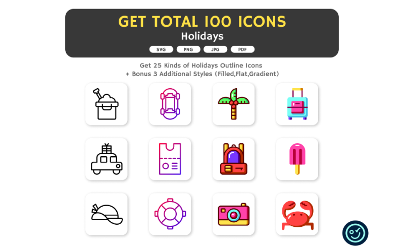Totalt 100 helgdagar ikoner - 25 typer av ikon med 4 stil