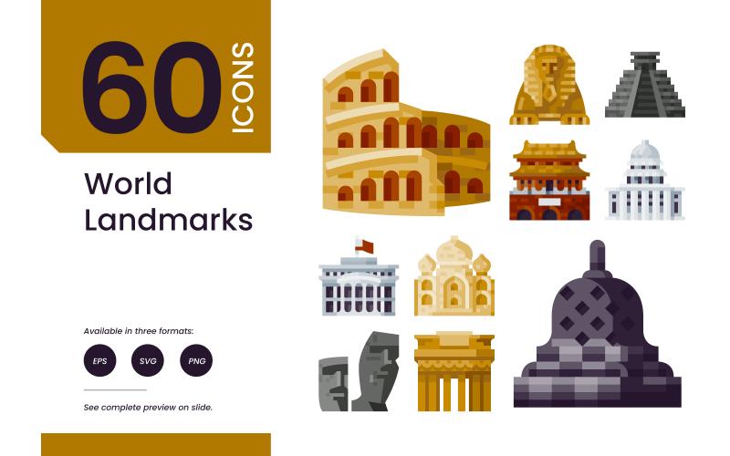 60 världens landmärken platta ikoner