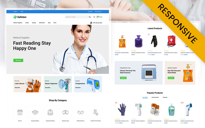 Safeton - Medical Store  Prestashop Responsive Theme