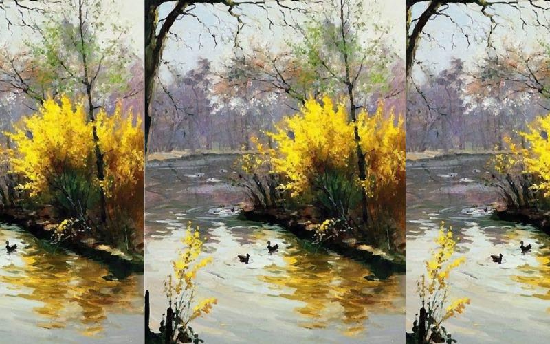 Akvarellandlek med vatten i en damm- och trädgårdssida Moment Hand Drawn Illustration Vector