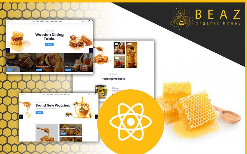 Beaz honungsproduktion och godis Delicious Shop React JS-mall