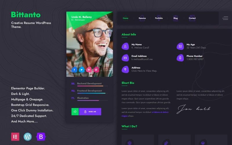 Bittanto - Creative Resume WordPress Theme
