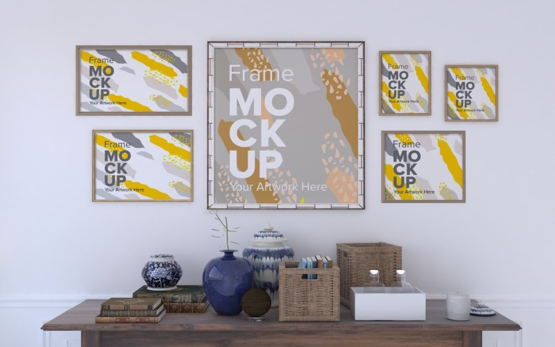 Flera ramar Mockup med tabell dekorativa objekt Mockup mall