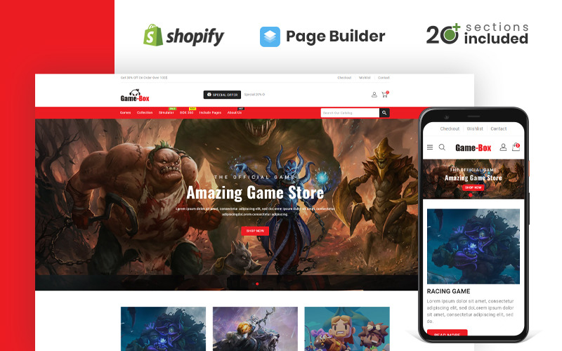 Game Box Gaming & Accessories Store Shopify Theme