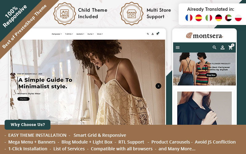 Monstera - Fashion PrestaShop -tema för modebutik online
