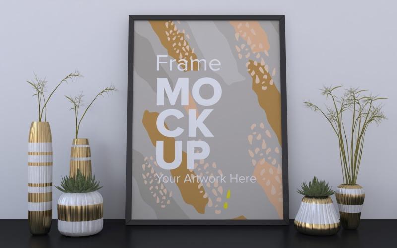 Svart ram med vaser på den grå väggmodellen