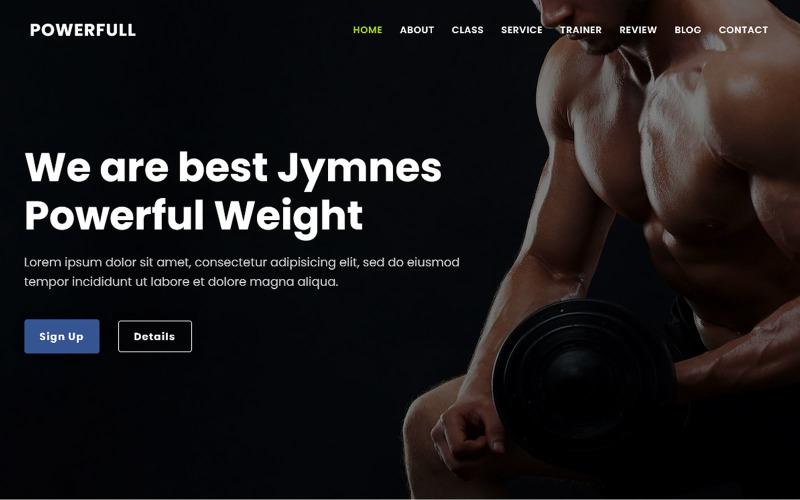 Kraftfullt - Tema för målsida för gym och fitness