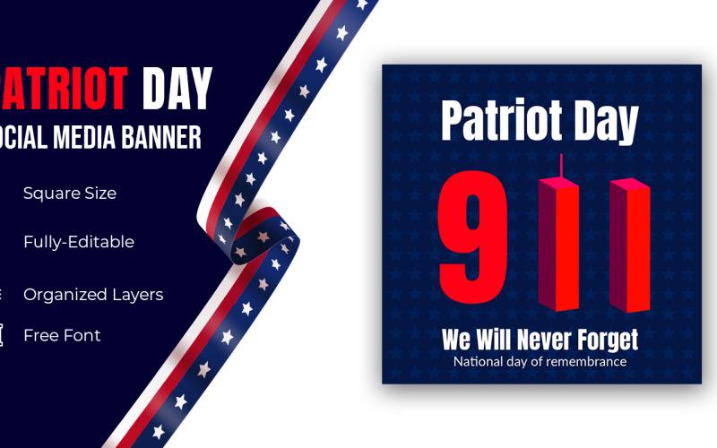 Patriot Day 11 september 2001 Banner vi kommer aldrig att glömma 9/11 sociala medier