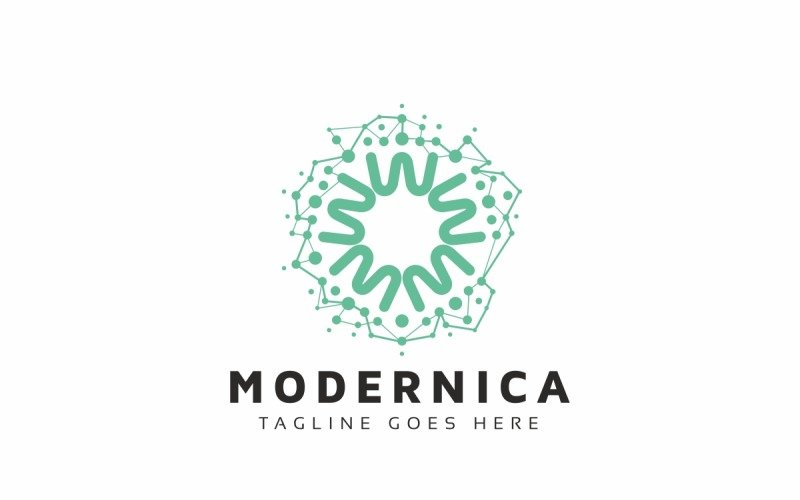Plantilla de logotipo molecular de círculo abstracto