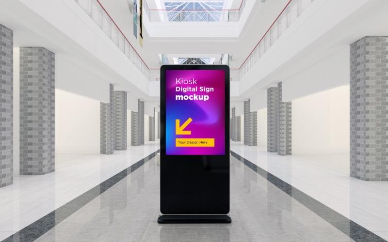 En modern tom totem, kiosk, digital skyltning, tolkning 3d