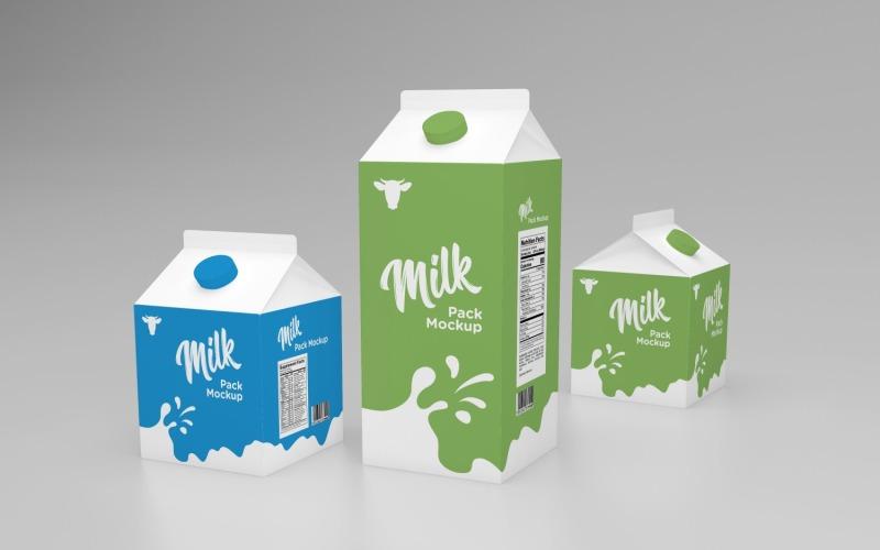 Mjölkförpackning förpackning en liters låda och två lådor halv liter Mockup mall