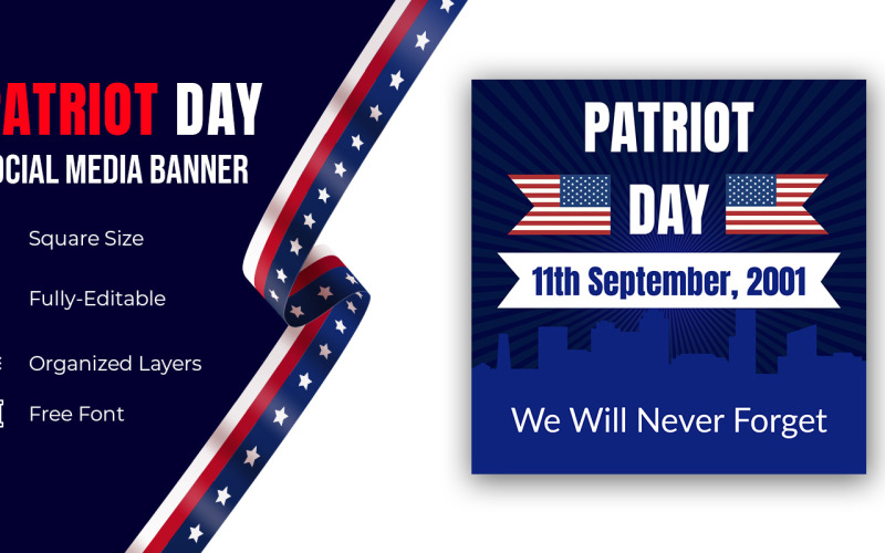 National Usa Patriot Day United States Holiday Banner Vector