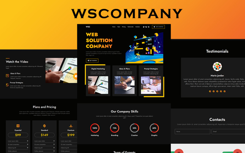 WSCOMPANY - Fully Responsive Working Landing Page Template