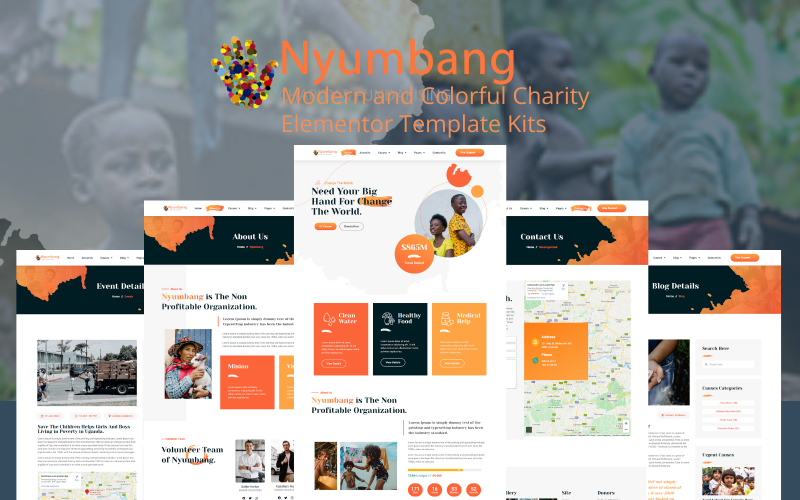 Nyumbang - 慈善和筹款 Elemetor 模板套件