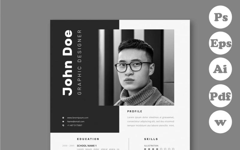 John Modern CV Template Black and White Printable Resume Template