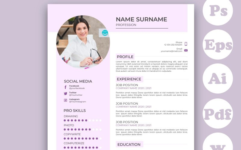 Minimalist Pink CV Template For