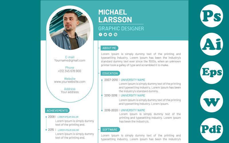 Минималистский зеленый шаблон резюме для графического дизайнера