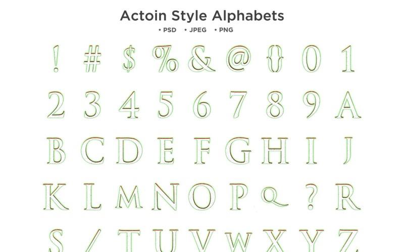 Action-Stil-Alphabet, ABC-Typografie