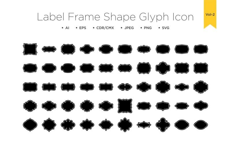 Форма рамки этикетки - Глиф с рамкой - 50 _Set Vol 2