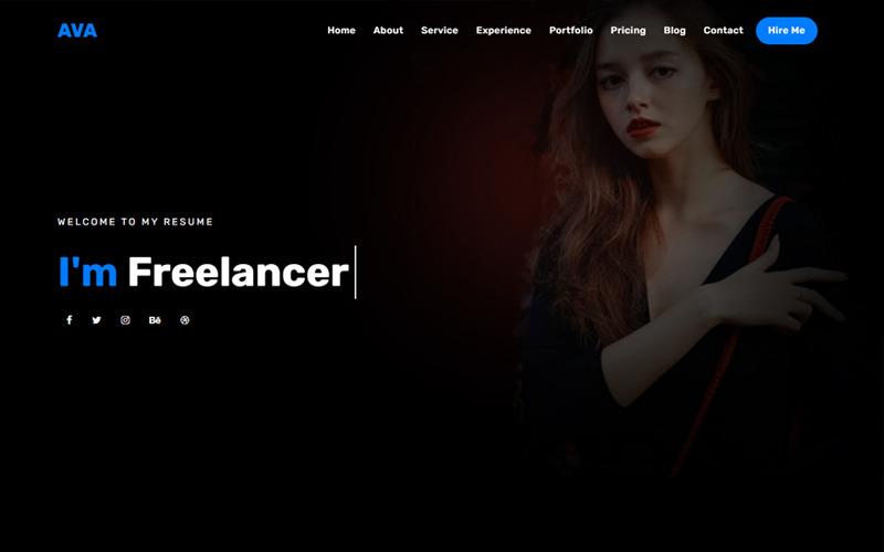 Ava - шаблон целевой страницы личного портфолио