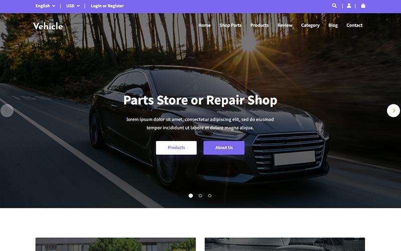 车辆 - 汽车零件商店登陆页面模板