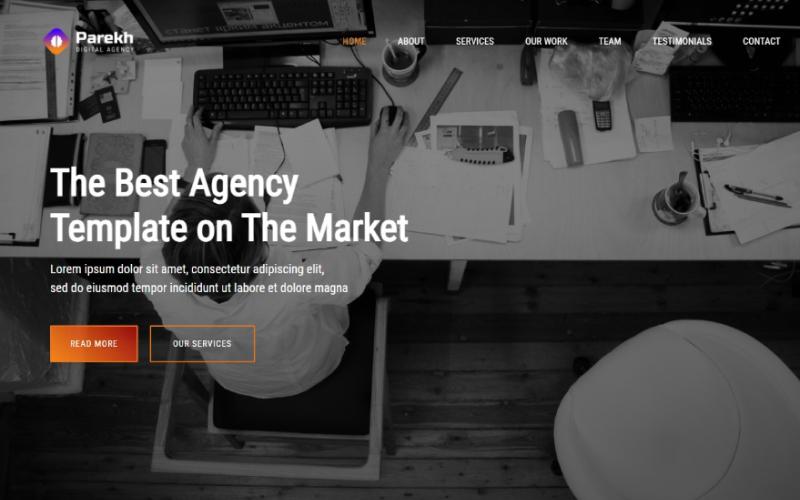 Шаблон целевой страницы цифрового агентства Parekh Responsive Bootstrap 5