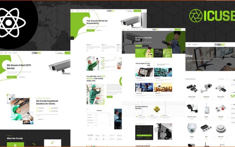 Шаблон веб-сайта Icusec Security Shop React JS