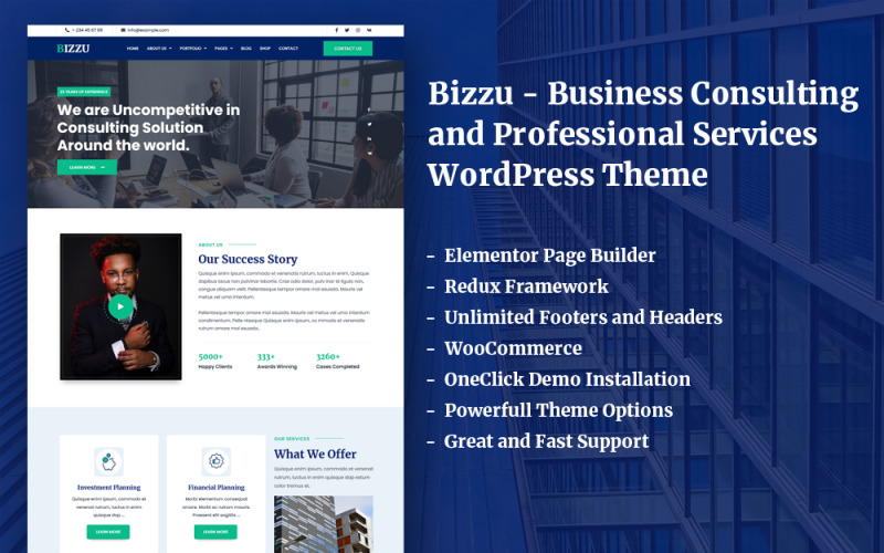 Bizzu - Business Consulting and Professional Services WordPress Theme With Elementor Builder