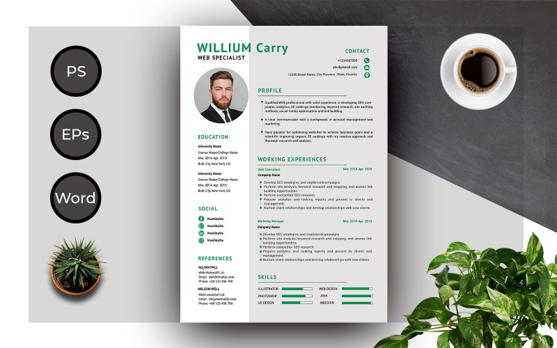 Resume Template of Willium Carry Creative And Complete