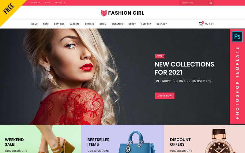 Fashion Girl - Darmowy szablon e-commerce Photoshop PSD