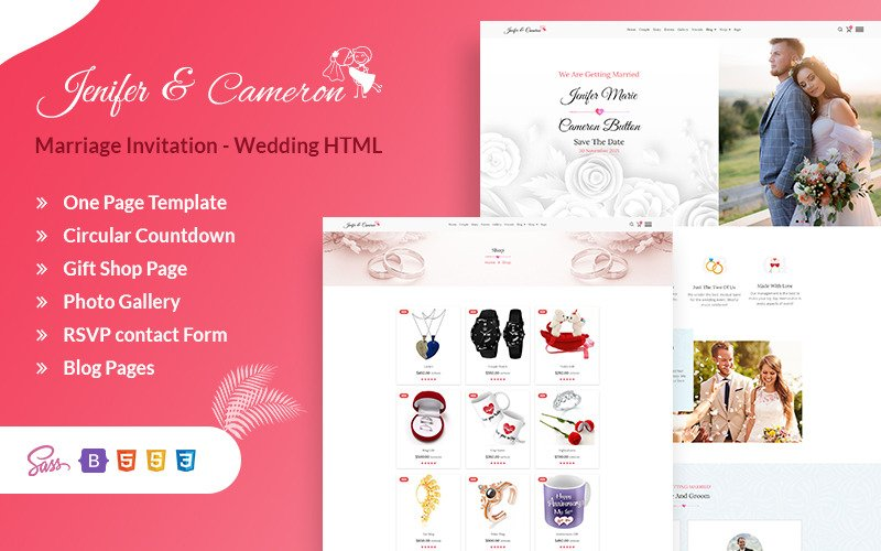 Marriage Invitation - Wedding Sass HTML Landing Page Template
