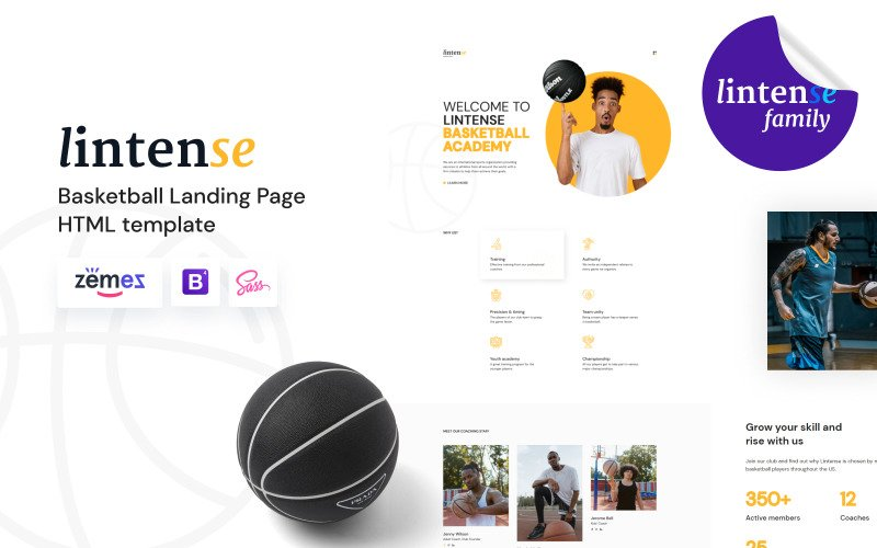 Lintense - Basketball Club HTML5 Landing Page Template