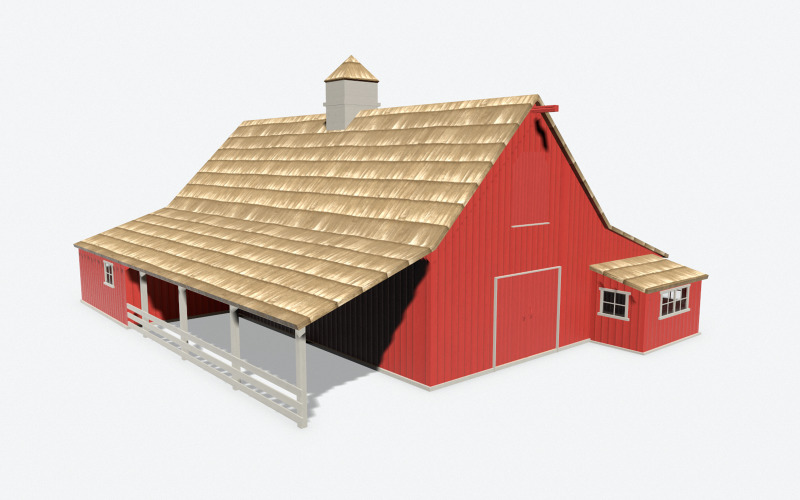 Red Barn PBR Low Poly 3d Model